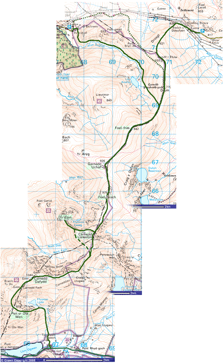 Map of Carnedd Section Welsh 3000s